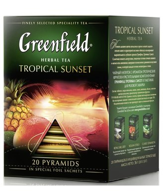 Чай черный GREENFIELD Tropical Sunset в пирамидках, 20х1,8г