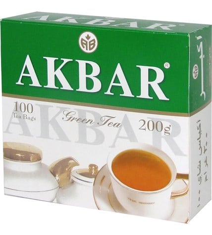 Чай зеленый Akbar Green Tea в пакетиках 2 г 100 шт